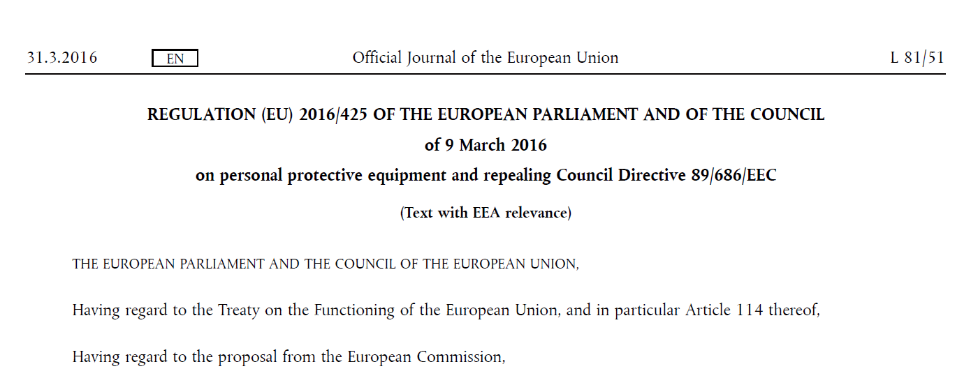 REGULATION (EU) 2016/425 OF THE EUROPEAN PARLIAMENT AND OF THE COUNCIL